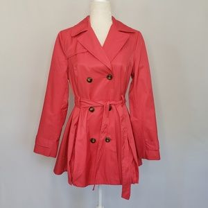 Black Rivit Dark Pink Trench Coat Women's Medium